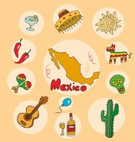 The set of national profile of the mexico cartoon state of the w