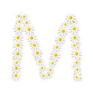 Flora Daisy Design Alphabet Vector Illustartion