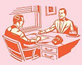 A job interview going on in a red and pink color tone
