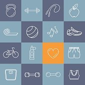 Fitness/exercise outline icons set