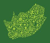 South Africa On Green Environmental Conservation and Nature Icon Pattern