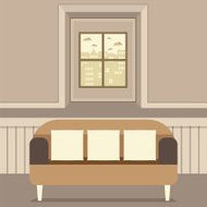 Empty Brown Couch In Front Of Window