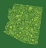 Arizona State On Green Environmental Conservation and Nature Icon Pattern