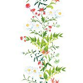 Summer meadow floral seamless vertical vector band