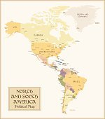 Vintage Map of North and South America