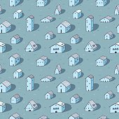 Cute naive house seamless vector pattern. Blue pattern. Kids style