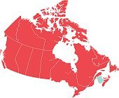 Red Map of Canada with New Brunswick Isolated in Blue