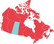 Red Map of Canada with Saskatchewan Isolated in Blue