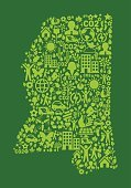 Mississippi State On Green Environmental Conservation and Nature Icon Pattern