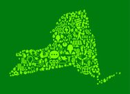 New York State On Green Environmental and Nature Icon Pattern