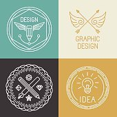 Vector graphic designer badges and logos in trendy linear style