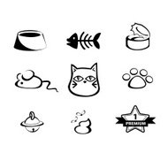 Vecter set of hand-draw cat icon