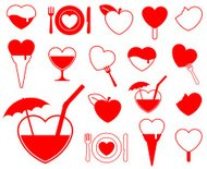 Heart icon collection - food/beverage vector