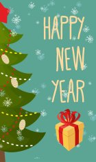 Happy new year greeting card. Christmas tree and gift.