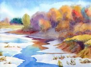 Watercolor landscape. Thaw river in valley