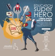 Flat linear Infographic Education book super hero concept.