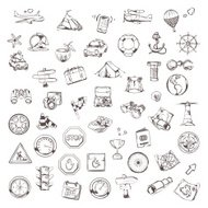 Travel and navigation, sketches of icons, vector set