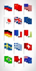 Most popular world flags set. Flat design