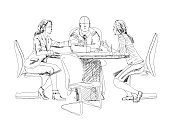 Silhouettes of business people working on meeting. Sketch