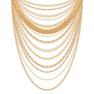 Many chains golden metallic necklace