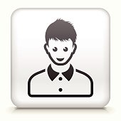 Royalty free vector icon button with Female Face Icon