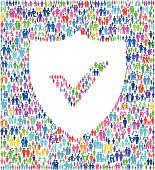 Security Shield on vector family pattern Background