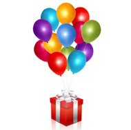 Red gift box with balloons
