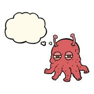 cartoon alien face with thought bubble