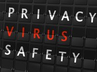privacy virus safety words on airport board