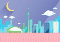 Toronto skyline by night, flat vector illustration.