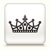 White Square Button with Crown Icon