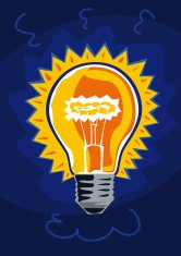 Yellow light bulb on blue background