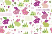 Vector seamless cute pattern rabbits and flora.