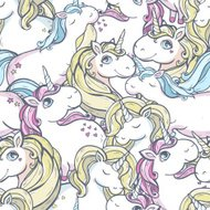 Vector pattern with unicorns.