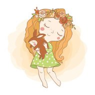 Little hippie girl with flowers and  rabbit.
