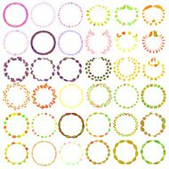 Round handdrawn wreaths on white background. Collection of clip