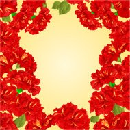 Seamless texture frame of red hibiscus vector