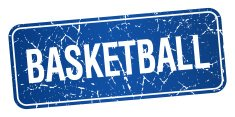 basketball blue square grunge textured isolated stamp