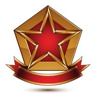 Golden vector stylized symbol with red star and glamorous band