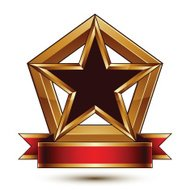 Golden vector stylized symbol with black star, glamorous