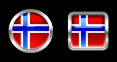 Metallic Glossy Flag | Norway