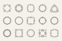 Vector line emblems and badges frames for logo or labels