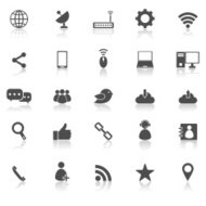 Network icons with reflect on white background