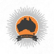 Australia map with vintage style star burst, retro element for