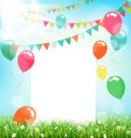 Celebration background with frame buntings air balls grass
