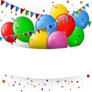 balloons and confetti, happy birthday banner