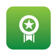 Ribbon badge on green button background,clean vector