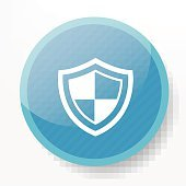 Safety badge on blue button background,clean vector