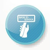 Back to school on blue button,clean vector