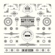 Set of linear line art deco retro vintage design elements